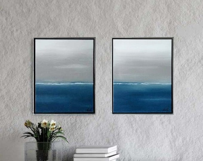 "Set of 2 Original Abstract Seascape Paintings "" Serenity I & II "" 17 x 21 each Framed in Choice of Floater Frame. Modern Coastal Canvas Art"