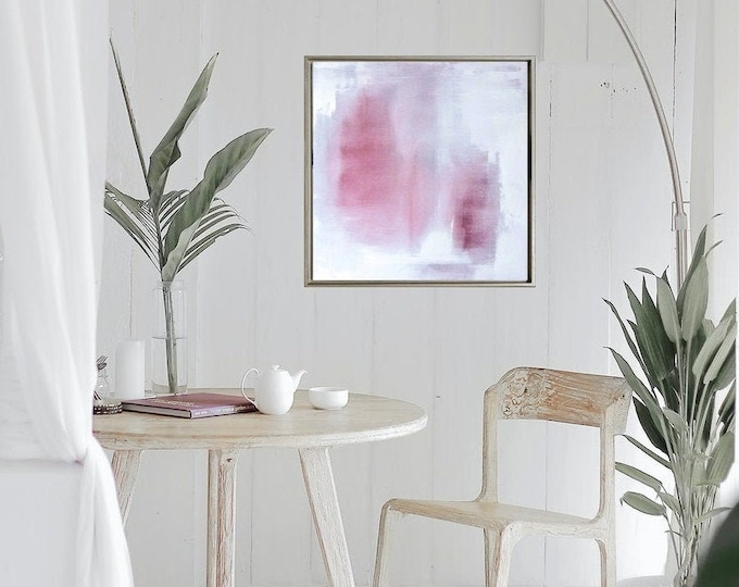 """Original Abstract Cloud Painting """" Veiled """" 21 x 21 Pink and White Boho Wall Art on Canvas, Modern Cloud Painting in Gold Wood Floater Frame"""