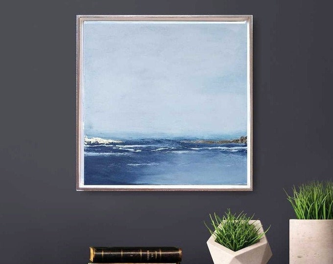 "Original Seascape Painting ""42 Horizon"" Original Ocean Canvas Painting 17 x 17 Acrylic Blue with Gold Leaf Accents, Choice of Floater Frame."