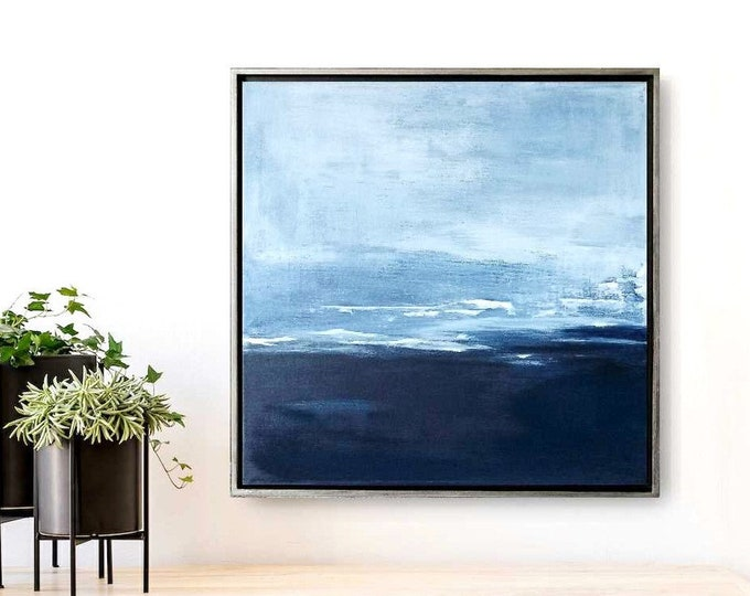 "Original Abstract Seascape Painting "" 33 Deep "", 17 x 17 Acrylic with Texture Ocean Wall Art, Gold /Black Floater Frame. Blue Ocean Painting"