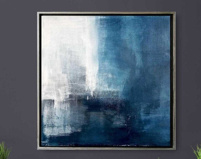 """Original Abstract Seascape Painting """" Day 154 """" 21 x 21 Acrylic Abstract Landscape on Canvas in Wood Floater Frame, Blue Ocean Wall Art"""