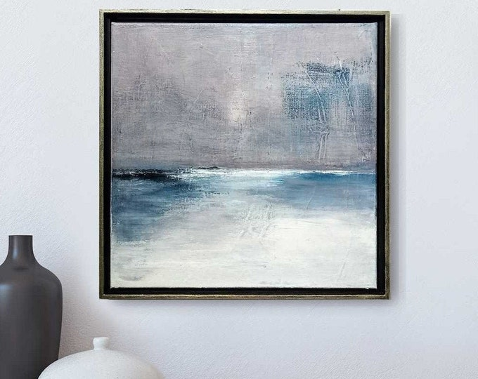 """Original Abstract Seascape Painting"""" Sangria 53 """" 15 x 15 Gray and White Ocean Painting on Canvas, in Choice of 2 Colors Floater Frame."""
