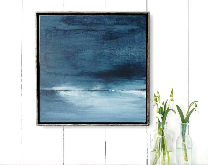 """Original Abstract Seascape Painting"""" 34 Darkness """" 15 x 15 Acrylic Ocean Painting on Canvas in Gold and Black Wood Floater Frame. Landscape"""