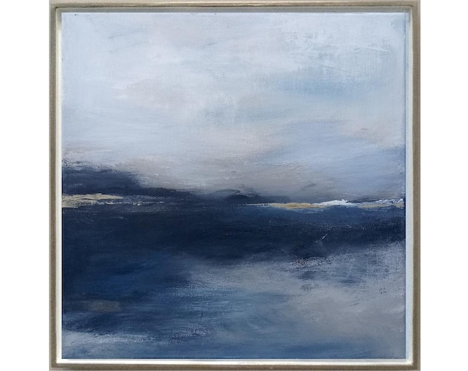 """Original Abstract Seascape Painting """" Looking Forward """" 15 x 15 Framed Acrylic Painting, Wall Art on Canvas in Navy Blue with Gold Accents"""