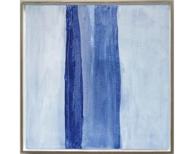 """Original Abstract Painting """" Straights """", 15 x 15 Minimalist Wall Art, Blue Abstract Landscape on Canvas, Original Small Acrylic Painting"""