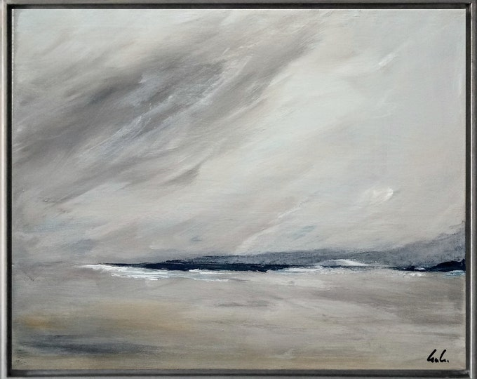 "Original Abstract Seascape Painting "" Potomac River "" 21 x 17 Acrylic Landscape Painting on Canvas Framed in Gold /Black Floater Frame."