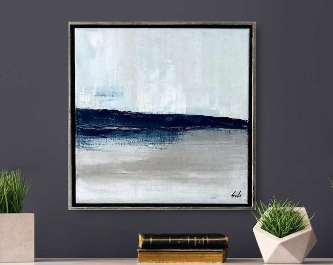 """Original Abstract Seascape Painting """" North """" 15 x 15 Acrylic Ocean Painting, Framed in Choice of 2 Colors Floater Frame. Beach Wall Decor"""