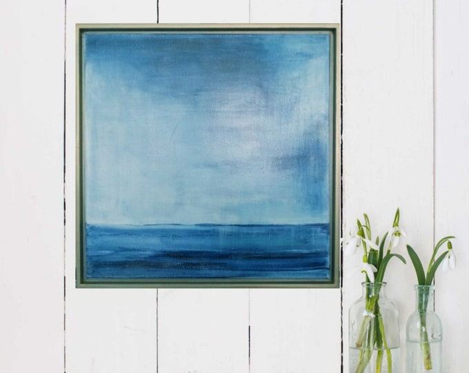"""Original Seascape Painting 15 x 15 """" Dark Cloud """"  Calm Blue Ocean Painting, Blue Acrylic Wall Art on Canvas in Gold Wood Floater Frame."""