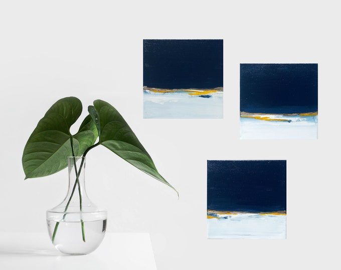 """Mini Set of 3 Original Abstract Seascape Painting """" Deep I, II & III """" , 6 x 6 Canvas, Ocean Painting, Modern Beach Painting, Blue and White"""