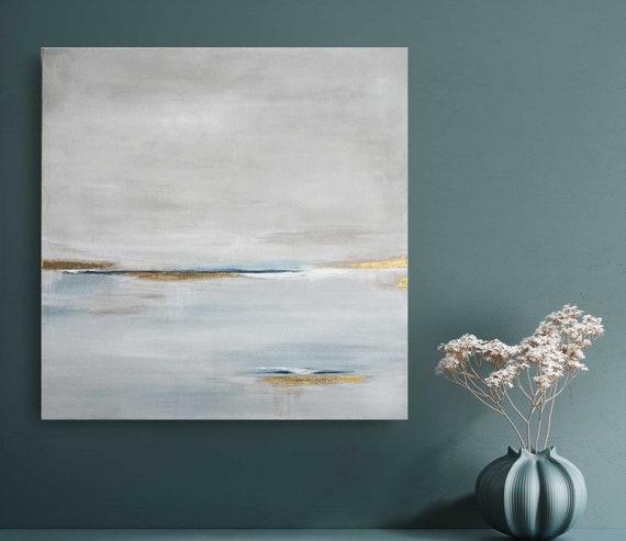 Coastal Wall Art Atmospheric Painting Original Abstract Painting Atlantis  25x25 Acrylic Ocean Wall Art on Canvas