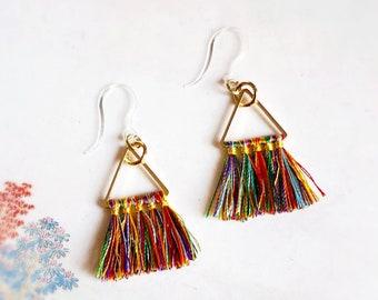 Metal Free Rainbow Tassel Dangle Earrings, gold tone with plastic hooks, Hypoallergenic drop earrings, fringe hippie boho earrings