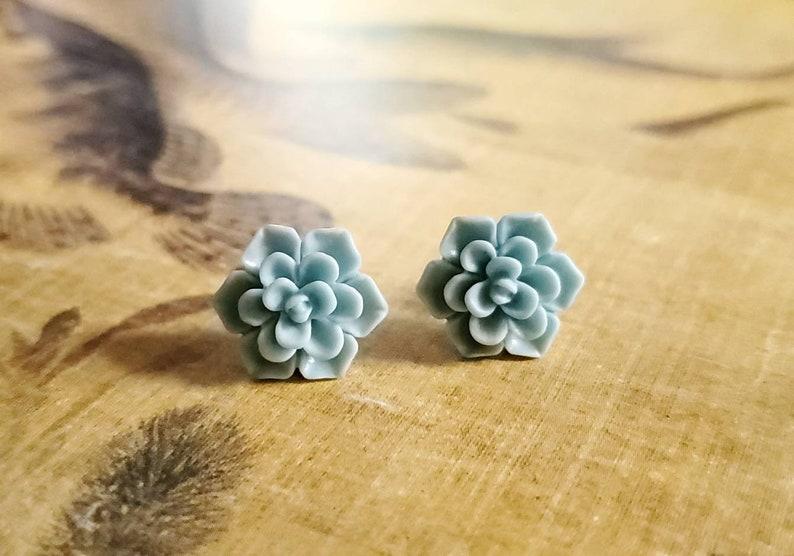 Mint Green color statement stud earrings Boho earrings, Metal Free Succulent Stud Earrings plastic posts Hypoallergenic stud earrings