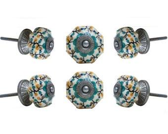 Flower Ceramic Knobs Shepherds with Brushed Chrome Finish