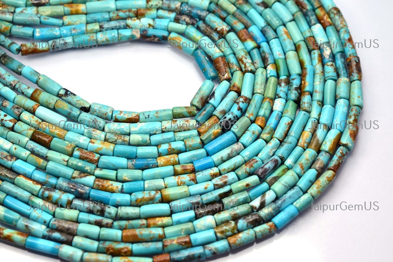 TRQ-013 AAA Quality 14 Inch Strand Size-6-10mm Approx Natural Arizona Turquoise Smooth Tube Shape Beads