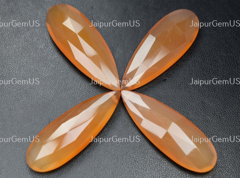 2 Match Pair Natural Chalcedony CD-086 Very Good Quality Size-15x40mm Approx Fat Orange Dyed Fancy Faceted Long Pear Shape Beads