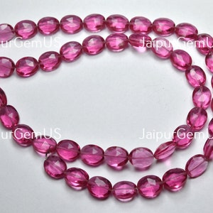 7 inch Strand Size-7x9mm Natural Rose Quartz Faceted Oval Shape Beads