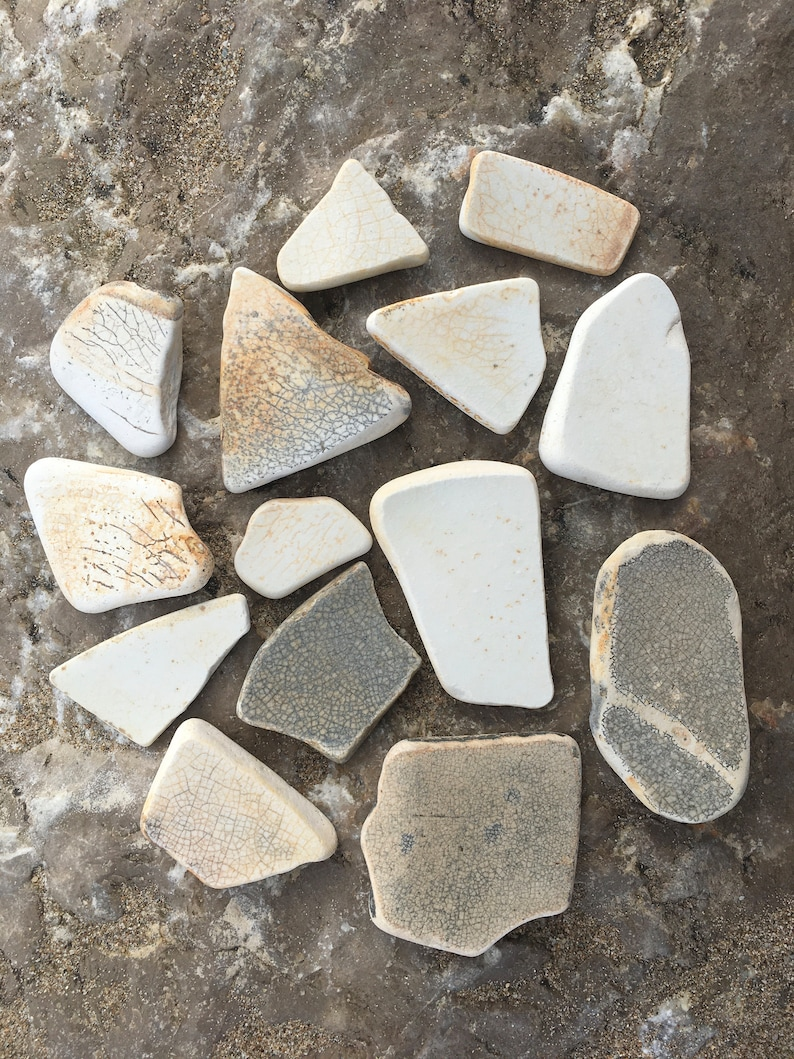 Arts and Crafts Gray /& Beige Sea Pottery Genuine Rustic Sea Pottery 14 Pieces of Authentic Surf Tumbled Pottery Spanish Sea Pottery