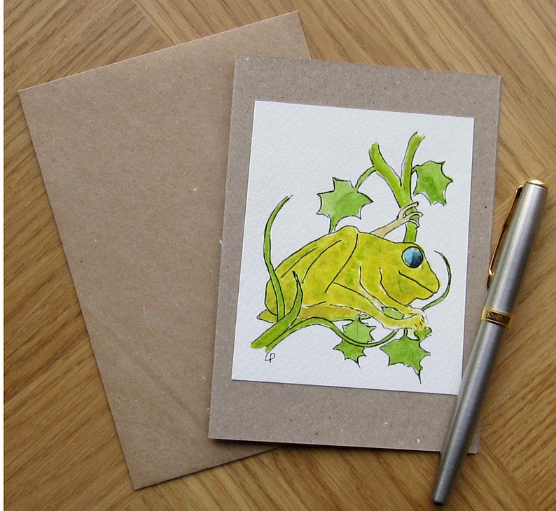 Wildlife theme. Original watercolour card of frog Original hand painted watercolour card of friendly frog Greetings card for any occasion