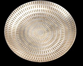 Silver Brass Etched Trinket Dish –  Vintage Dressing Table, Jewellery, Ornament