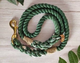 Forest Green // Handmade Eco-friendly Natural Cotton Rope Dog Lead// Dog Leash