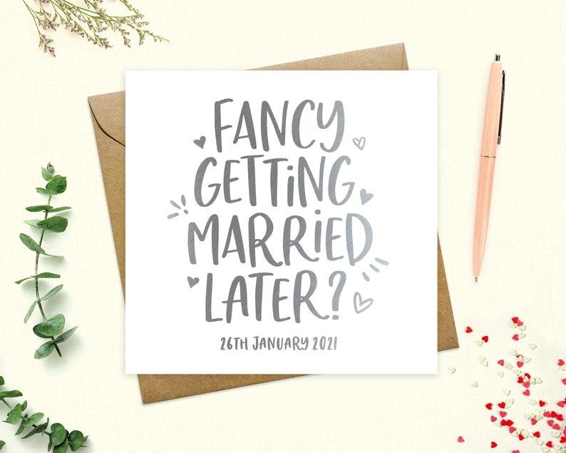 Husband Fancy getting married later Personalised Groom or Bride Card To my groom or bride Wedding Day Card Keepsake Wife Real Foil