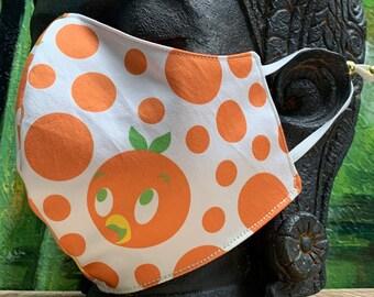 Florida Orange Bird Disney Parks Dress Shop Fabric Face Mask Adjustable Washable Reusable