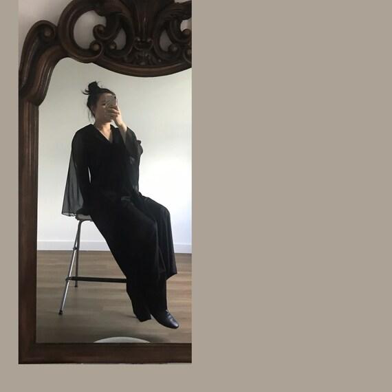 Vintage Black Dress with Sheer Sleeves, Wide Sheer