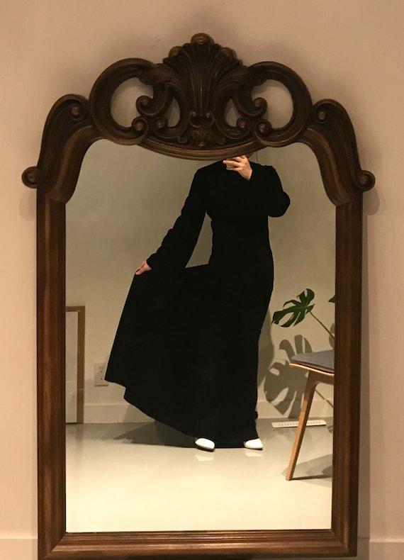 Vintage Papillon Black Long Velvet Dress, 1960s, H