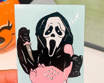 Scream with pink phone Decal / waterproof/ car sticker / sticks to anything