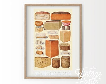 Food wall art, Cheese diagram print, Kitchen decor, Antique cheese, Victorian Art, Mrs Beeton's book, Gift for a Foodie, High Quality Paper