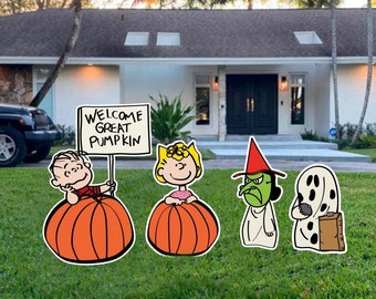 Halloween yard sign /The Great Pumpkin, Charlie Brown Characters ( Linus, Charlie Brown,Snoopy) halloween outside decor/ halloween yard sign