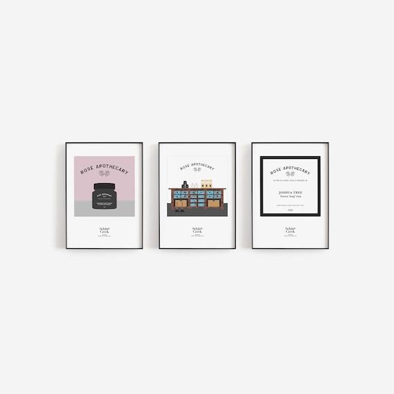 Schitt's Creek prints, collection of 3 prints, Daniel & Eugene Levy, Rose Apothecary, David Rose store, foot cream jar, Hockley's Farm tea
