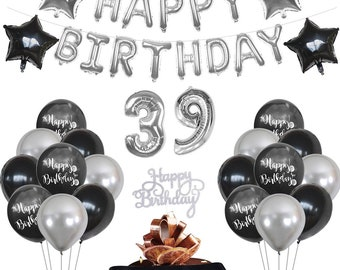 24th Birthday Decorations Birthday Party Supplies Black and Silver Birthday Decoration 24 Cake Topper Banner Balloons Birthday Surprise