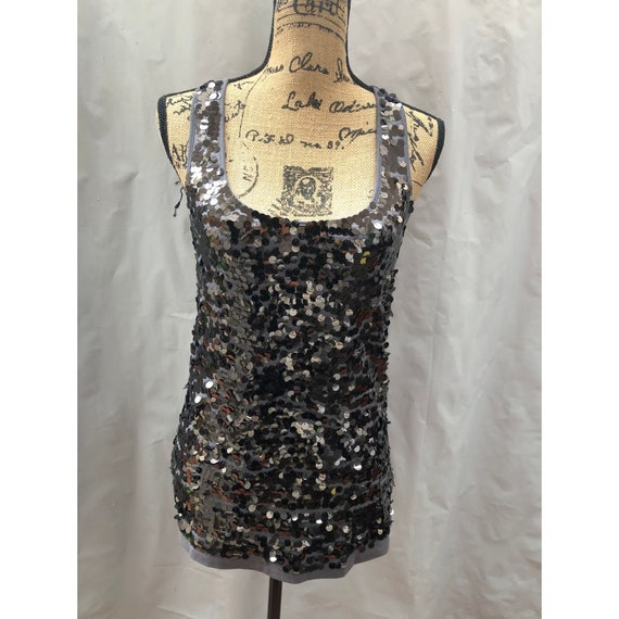 Forever 21 Sequined Tank Gray Size Large