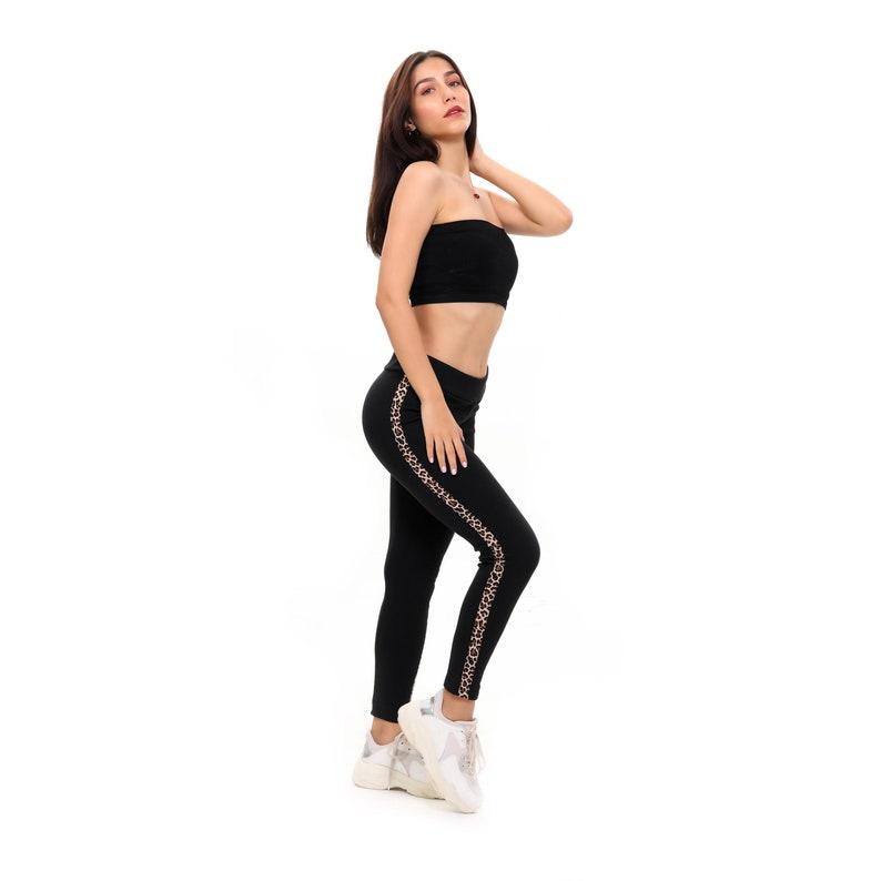 High Waisted Athletic Leggings Winter Workout Pants for Women Women Leggings Black Yoga Leggings With Leopard Print Stripe