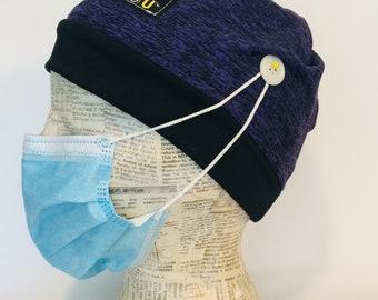 Surgical Cap with Buttons for Nurse-Stretch Comfort Fit-Unisex Full Nurse Head Wrap-Dental Hygienist-Vet-Healthcare Earsaver