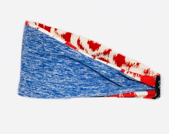 Yoga Running Headband- Workout Headband-Fitness Wide-Nonslip Headband-Red White and Blue