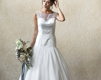 Drop Waist Wedding Dress Etsy