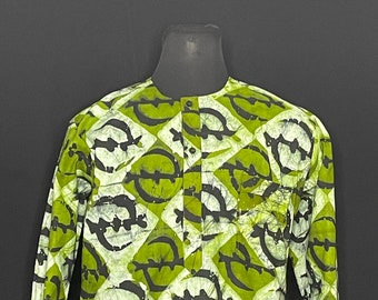 2XL Ashanti Fields Batik No Collar Shirt