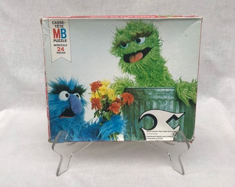 Spring Discovery Oscar The Grouch Set Of Four  4 Retro  Vintage Golden Frame Tray Puzzles Bugs Bunny Casper The Friendly Ghost
