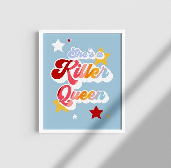 Queen/ Freddie Mercury/ Queen Print/ Killer Queen/ Funky/  Valentines/ colourful/ Lyrics print/ Music print/ vintage print/ Retro