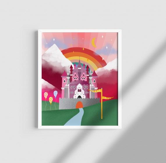 Personalised Princess Castle Print / Nursery Print / Personalised Print / Personalised Gift / Baby Shower Gift / Birthday Gift