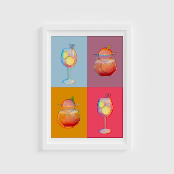 Pop Art Style Cocktails Print / Sunday Brunchin / Cocktail Illustrations / Food Illustration/ Kitchen Prints/ House Prints/ Home Prints