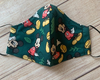 Disney Mickey Mouse holiday face mask. Double layer cotton with filter pocket and adjustable elastic ear loops (tie &tuck)