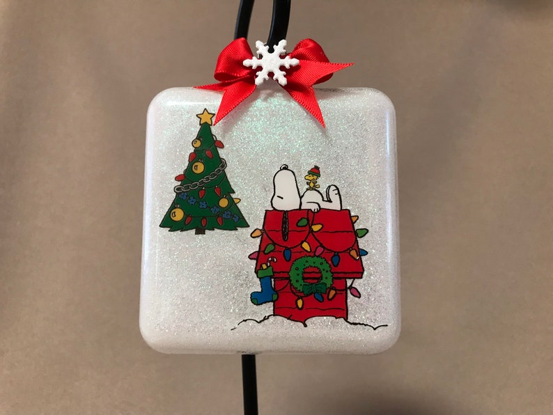 Handmade Peanuts \u201cSnoopy\u201d Extra Large Square Glass Shaped Christmas Ornament~Made In USA~New Personalization Available