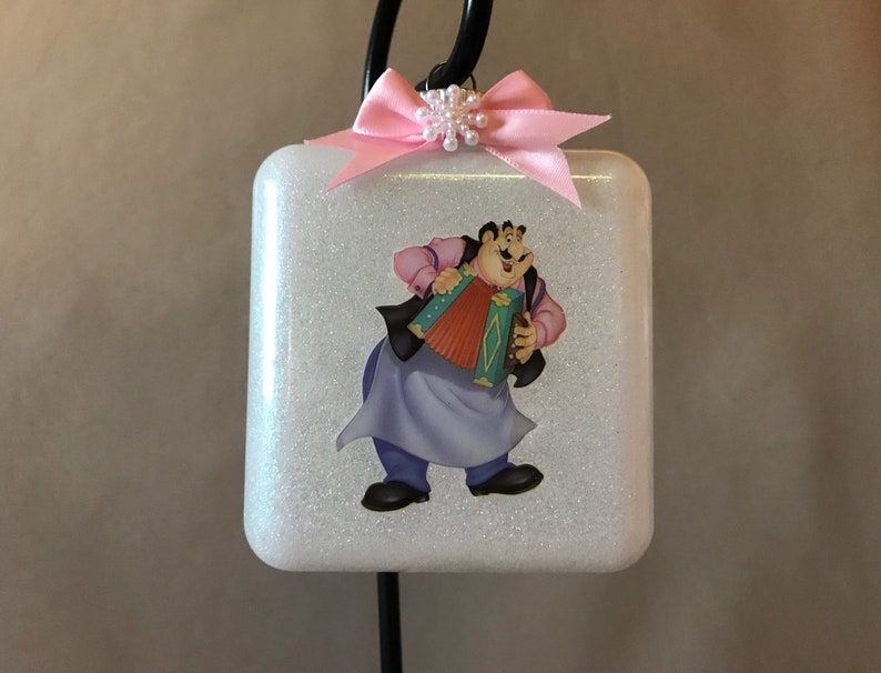 Personalization Available! New Handmade Lady /& The Tramp \u201cTony\u201d Extra Large Square Glass Shaped Christmas Ornament Made In The USA