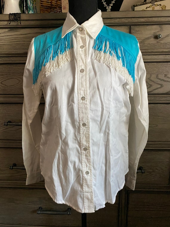 VINTAGE White and Blue ADOBE ROSE Western Blouse w