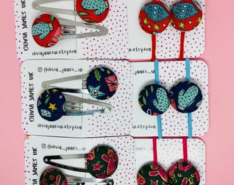 Liberty Festive Joy hair accessories bobbles and clips buttons stocking fillers advent calendar