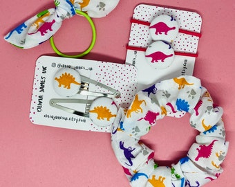 Dinosaur hair accessories, hair ties, button bobbles, button clips, party bags, girls hair, gifts, twinning