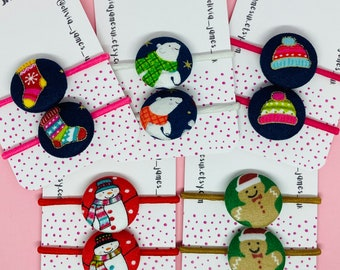 Christmas button hair bobbles stocking fillers advent calendar fillers